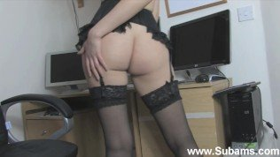 Horny Office MILF Reveals Her Hairy Cunt